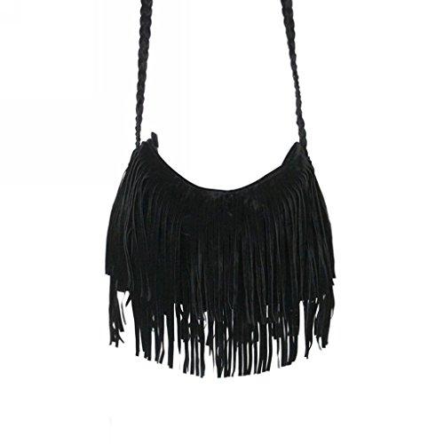 BXT fakeface épaule Mode frangée Sac de sac à main de mode Fille Sac Vintage en cuir avec Franges velours style à la mode Top élégant pour les pour femmes et les filles, noir