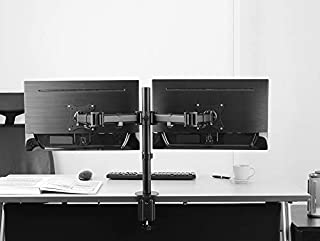 "Rife VESA Full Motion Dual Arm Desk Monitor Mount Stand with Fully Adjustable Arms Fits 2 Screens up to 27"" (Black)"
