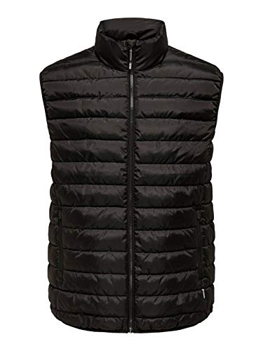 Only Onsgeorge Quilted Waistcoat Otw Piumino a gilet, Nero, XS Uomo