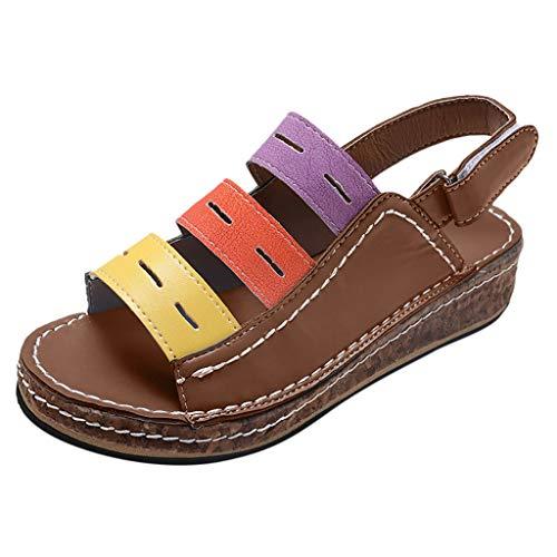 AIni Sandalias CuñA Mujer Verano Plataformas Chanclas Vintage Zapatos Planos Sandalias Antideslizantes...