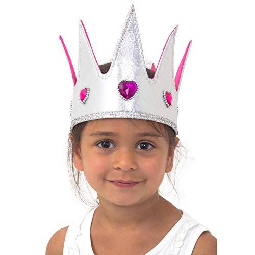 Lucy Locket - Couronne de reine argentée à bijoux pour enfants - Déguisement couronne reine luxe faite main pour enfant (3-8 ans)