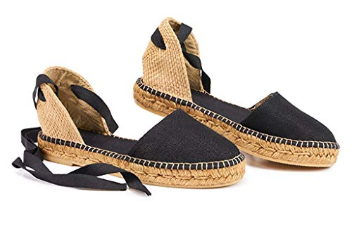 Ruanyu Womens Closed Toe Espadrille Sandals Flatform Lace Up Canvas Comfortable D'Orsay Sandals