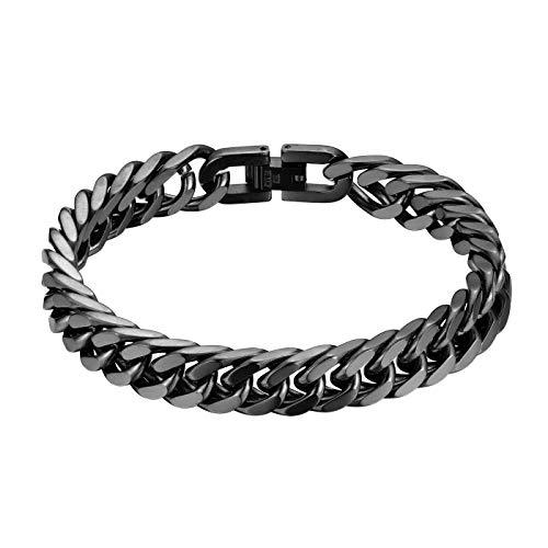 JewelryWe Schmuck Herren Armband Edelstahl Panzerkette Armband schwer Glieder Link Kettenarmband 21CM Armkette Armreif Schwarz