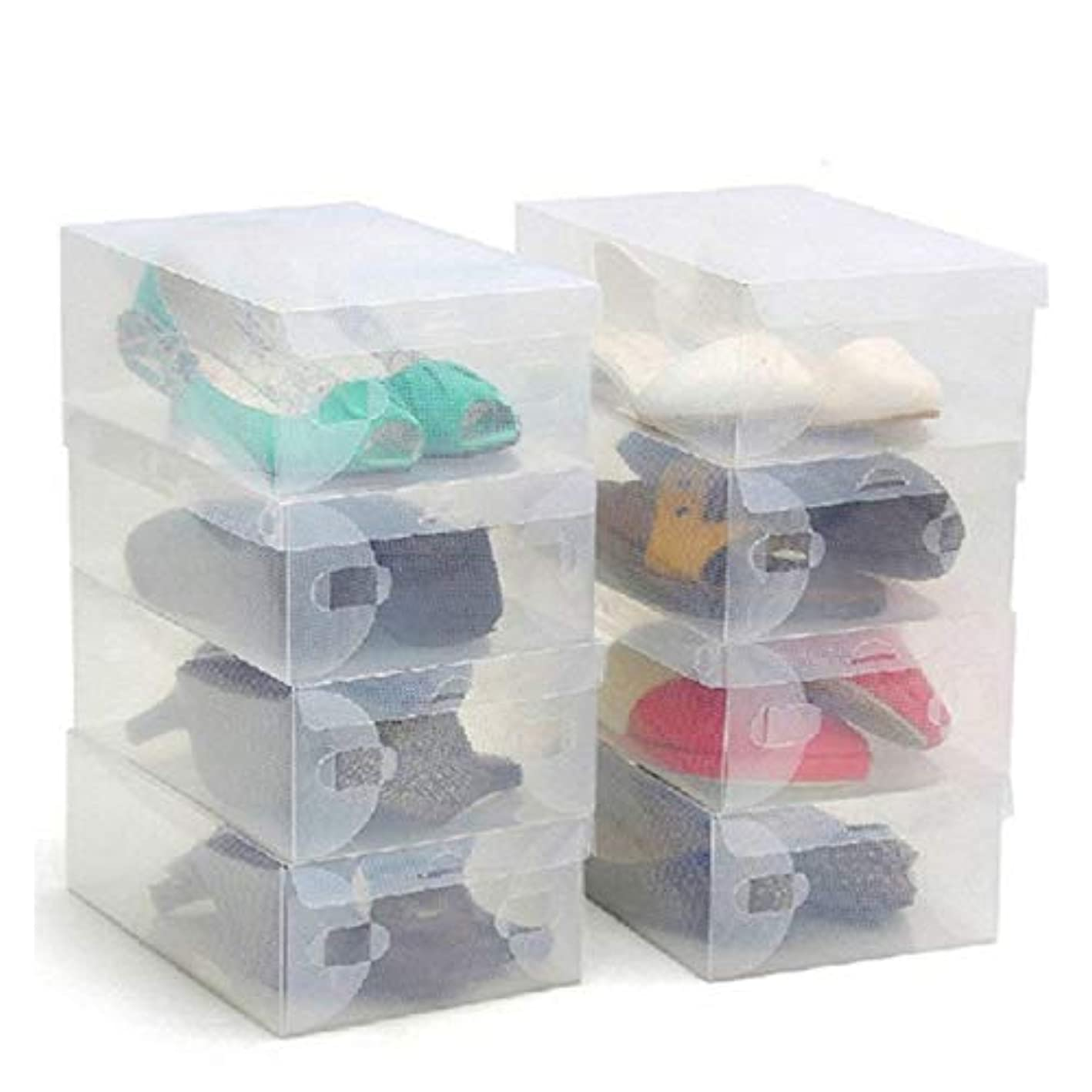 Kurtzy Shoe Storage Box 10 Pack - Clear Corrugated Plastic Shoe Boxes - Large Collapsible Stackable Foldable Boxes - Waterproof Shoe Organizer Can Fit Small, Large and Medium Shoes - Ideal for Travel
