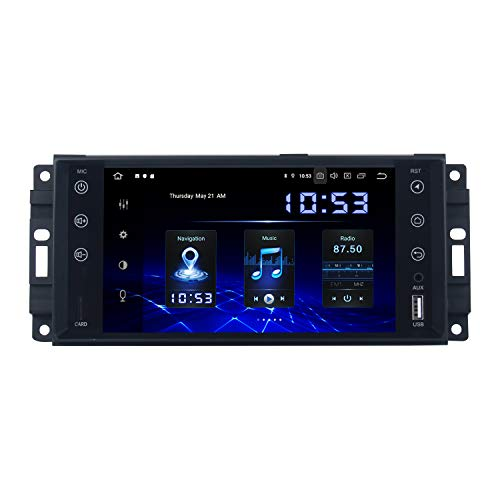 Dasaita Android 10.0 Autoradio Bluetooth Coche Carplay para Jeep Wrangler Commander Compass Dodge RAM 2008-2012 1 DIN Radio Coche USB Soporte Dab+ GPS Mandos de Volante FM/Am WiFi