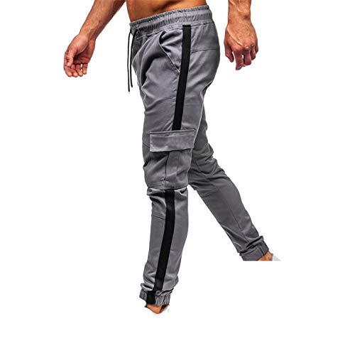 Pantalones deportivos para hombre, pantalones deportivos con cordones elásticos, pantalones de gimnasio, Guck14-gray, XL