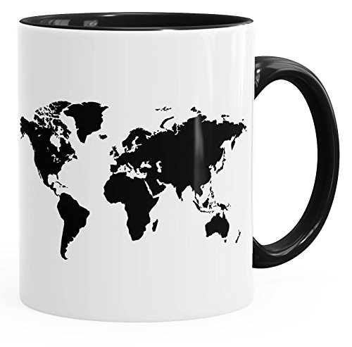 Autiga Kaffee-Tasse Weltkarte World Map Teetasse Keramiktasse mit Innenfarbe schwarz Unisize