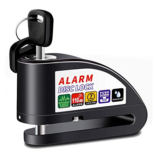 Anykuu Candado Disco Moto Dispositivo antirrobo de Bloqueo de Disco con Alarma antirrobo de Acero 7mm 110DB