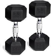 CAP Barbell Rubber-Coated Hex Dumbbells, Set of 2, 25 Lb Pair (50 Lbs Total)
