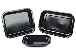 Use this Russell Hobbs 3-Piece Set for cooking great-tasting meals, including; poultry, lamb, pork, vegetables, potatoes and much more. Made from durable carbon steel, these pans are designed with a sleek black vitreous enamel coating that will not s...