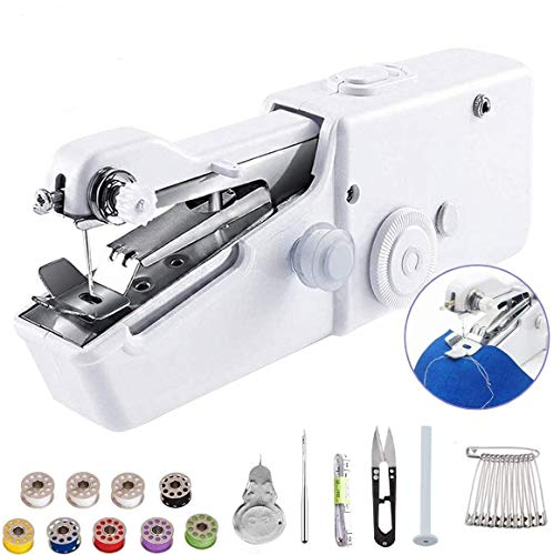 Eadidi Handheld Sewing Machine, Mini Handy Cordless Portable Sewing Machine, Mini Sewing Machine for Kids Clothes, Home, DIY Accessories (Battery Not Included) (SET-01)