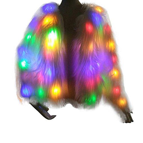 Elegante Pelzjacke Damen Kunstpelzjacke GefüHrt Leuchtende Jacke Pelzmantel Mit Blitzlichteffekt Led PlüSchjacke Party Mantel Flash-Mantel KostüM Winter Warm Fur Kunstfell Jacke