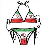 CYEfuzhuang Women Flag of Iran Two Pieces Bikini Women's Summer Swimwear Triangle Top Bikinis Swimsuit