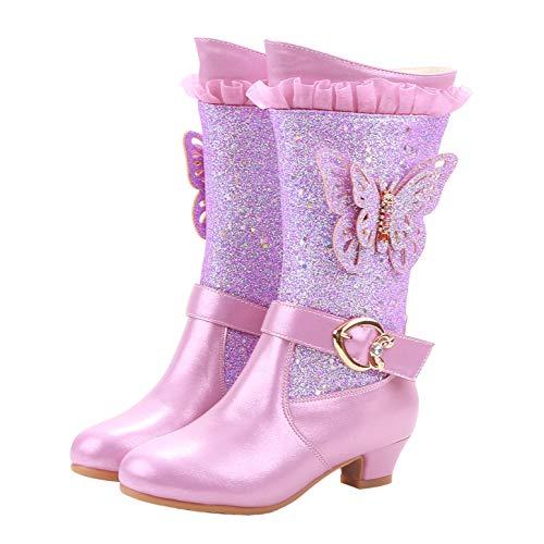 YOSICIL Niñas Princesa Sandalias de Tacón Alto Zapatos Frozen Elsa de Lentejuelas Antideslizante Zapatos de Ballet Tango Latino Disfraz Zapatos de Fiesta Halloween Cumpleaños 3-12 Años