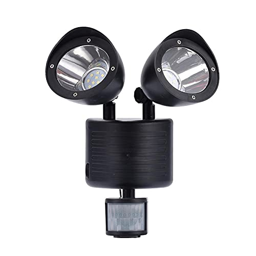 LXH-SH Tira de luz LED Lámpara al Aire Libre Luz 22 LED Doble Cabeza Sensor de Movimiento Solar G Lámpara de decoración Luz de Seguridad Solar Tira de luz (Emitting Color : Black)