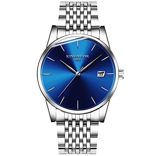 ZSDGY Reloj Impermeable para Hombres con Banda de Acero, Calendario con Reloj electrónico para Estudiantes, Reloj Exquisito C