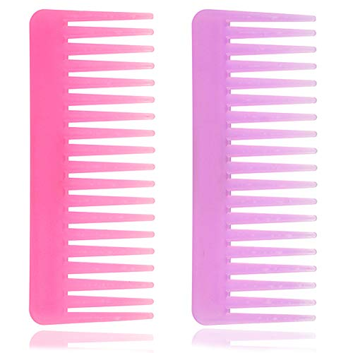 Wide Tooth Comb for Curly Hair Wet Dry Hair, No Handle Detangler Comb Styling Shampoo Comb (purple, Pink 2 Pieces)