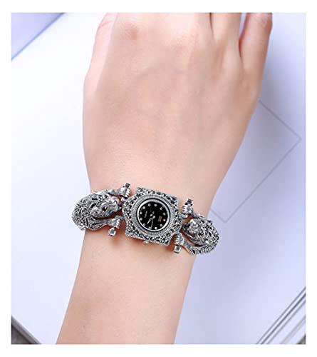 CHXISHOP Reloj de pulsera de plata de ley 925 para mujer, cabeza de leopardo, cadena retro con incrustaciones de piedras preciosas reloj negro