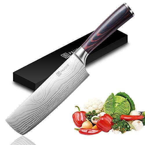 Nakiri Knife – PAUDIN Razor Sharp Meat Cleaver 7 inch High Carbon German Stainless Steel Vegetable Kitchen Knife, Multipurpose <a href=