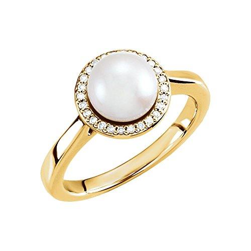 Anillo de oro amarillo de 14 quilates de 7,5 08 mm pulido de diamante y perlas cultivadas de agua dulce, talla M 1/2, joyería de regalo para mujeres