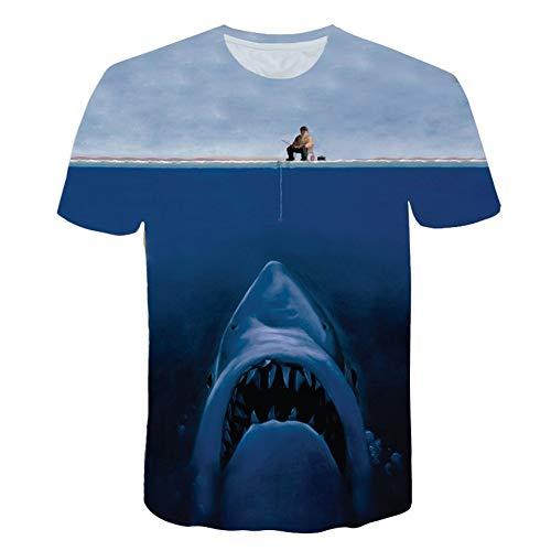 XIAOBAOZITXU T-Shirt Mode Große Größe Männer Und Frauen Unisex-Liebhaber Kleidung Angelhai Blau Slim Fit Cooles Lustiges Sommersport-T-Shirt XXXL