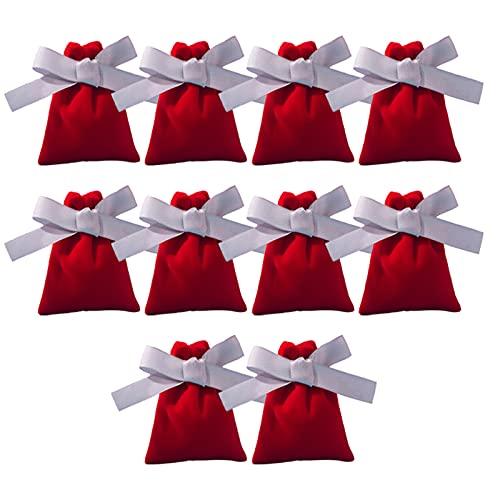 Wilany Paquete de 10 bolsas de joyería medianas con cordón, bolsas Potli para regalo, joyería de boda, embalaje de novia, fiestas, regalos de varios colores para mujeres de 7 x 9 cm