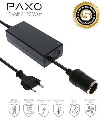 KFZ Netzadapter, Netzteil 230V auf 12V / 10A Spannungswandler Gleichrichter mit Zigarettenanzünder-Buchse für Staubsauger, Kompressoren u.v.m.