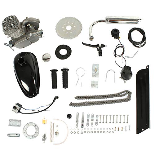 PEXMOR 2-Stroke 50cc Bicycle Motor Kit Motorized Bike Cycle Gasoline Petrol Gas Engine Refit Kit, Super Fuel-efficient for Bicycle Scooter (50cc (Silver))