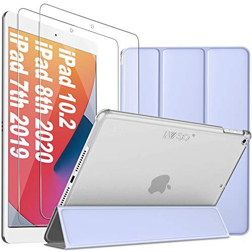 IVSO Cover iPad 10.2 2020/2019, iPad 10.2 2020/2019 Custodia, iPad 7/iPad 8 Cover, iPad 8/7 Generazione Cover, + Pellicola iPad 8 / 7, Vetro Temperato, Pacco da 2, Alta Trasparenza (Viola)