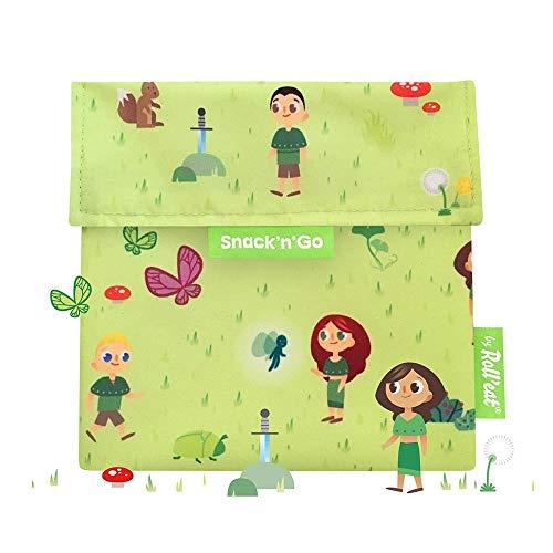 Roll'eat - Snack'n'Go Kids - Bolsa Merienda Porta Sandwich Ecológica y Reutilizable sin BPA, Forest