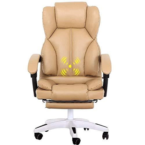 XKKD Stoelleuning, verdikking, met dubbele rugleuning, PU-leer, bekleding, bureaustoel, ultiem comfort, massagefunctie, gewicht 150 kg, geschikt voor kantoor en thuis