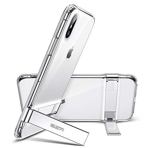 ESR iPhone Xs ケースiPhone X ケース 耐衝撃 5.8インチ 着脱簡単 [メタルスタンド 横置き・縦置き 角度調節可能 落下 衝撃吸収 ワイヤレス充電に影響なし] 米軍MIL規格取得 iPhone Xs/iPhoneX 専用ケース(クリア)