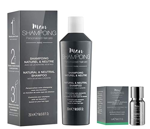Mon Shampoing - Duo Shampoing Naturel - Cheveux Gras - Sans SLS/Sans Paraben/Sans Silicone - Huiles Essentielles & Végétales Menthe, Romarin, Jojoba - Convient pour Lissage/Extensions. 250ml + 5ml
