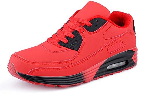 Fusskleidung Herren Damen Sportschuhe Dämpfung Neon Sneaker Laufschuhe Runners Gym Unisex Rot Schwarz EU 44