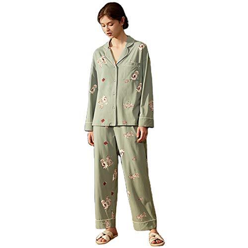 FFhomet Pijamas de Invierno Set Soft PJs, Mujer Pijama Manga Larga Casual Camisón, Cuello Redondo Bañera Suelta de Dos Piezas Ropa de Dormir (Size : Large)