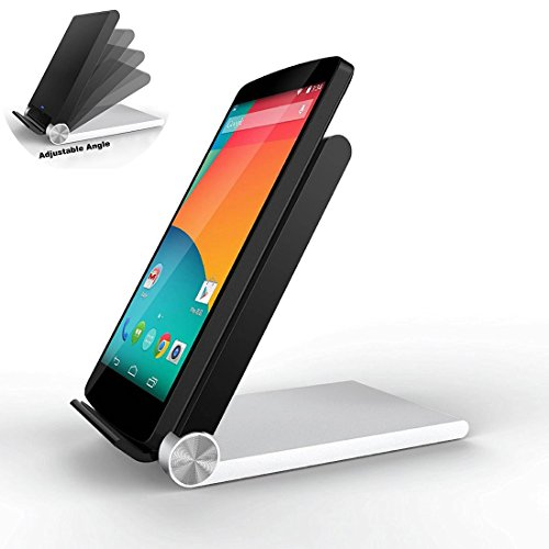 Rerii 3-Coils Folding Qi Wireless Charger Stand Dock Cradle for Qi-enabled Phones and Tablets