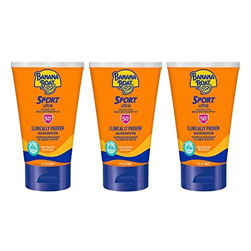 Banana Boat Sport Ultra, Reef Friendly, Broad Spectrum Sunscreen Lotion, SPF 50, TSA Approved Travel Size, 2 Fl Oz, Pack of 3