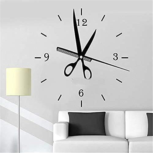 whwd 56x57 cm Tijeras Reloj peluquería Etiqueta de la Pared Ventana Etiqueta de la Pared Decorativa