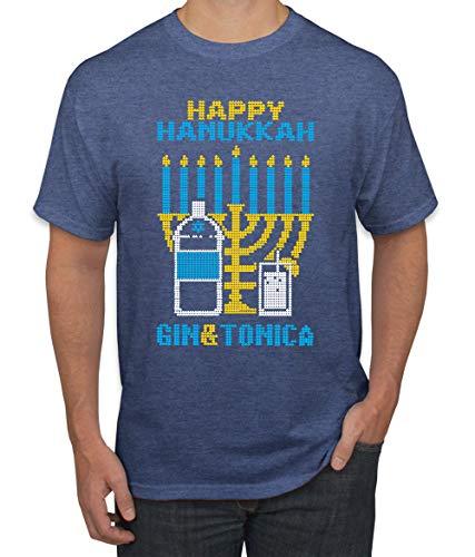 Wild Bobby Happy Hanukkah Gin & Tonica Hanukkah Men's Graphic T-Shirt, Vintage Heather Blue, 4XL
