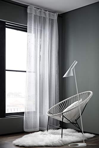Brandsseller Glitter gordijn met lussen, metaal, voor roede en rail, met gordijnband, ca. 135 x 245 cm.