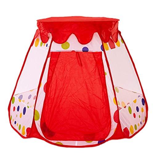 Tienda para niños Piscina de Bolas hexagonales con Cubierta Bebé Plegable Casa de Juegos Interior y Exterior Castillo de la Princesa (Lunares Rojos)