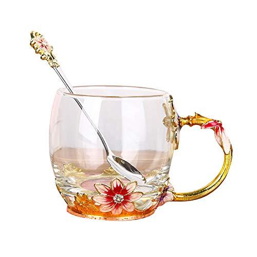 ZUEN Vasos, Vasos Decorados Vaso de Agua Taza de Café de Alta Temperatura, Copa de Té, Copa de Té, 320 Ml