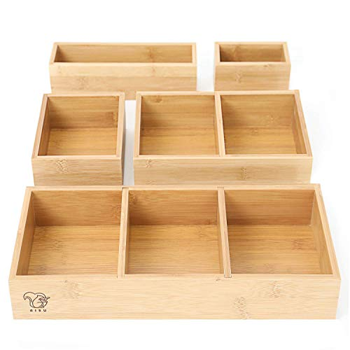Bamboo Junk Drawer Organizer by RISU: Storage Boxes for Tidying Up Junk - Multi-Sized, Sturdy and Sustainable, Perfect Trays for Office Supplies, Make-Up Cosmetics and Kitchen Utensils (Set of 5)