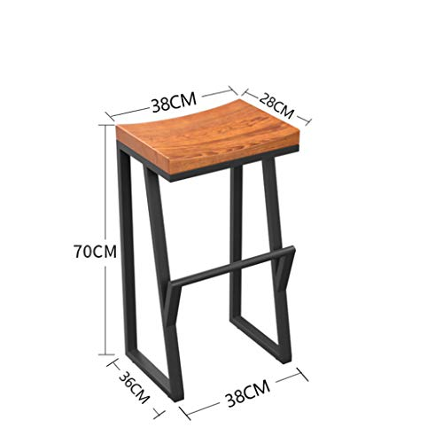 NJ Barkruk Retro smeedijzeren barkruk barkruk barkruk van massief hout creatieve kruk hoge stoel barstoel vrije tijd 38x38x70cm Lichtbruin.