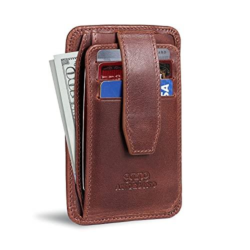Otto Angelino Portafoglio da Uomo Ultra Slim in Vera Pelle - con Blocco RFID, Design Minimalista e compatto - con chiusura a scatto, porta carte, documenti, porta monete con zip