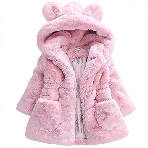 YHSW Chaqueta, Chaqueta cálida para niña de invierno 2021 Nuevo estilo, Fiesta de lana, Chaqueta para la nieve, Chaqueta con capucha 4 T Rosa