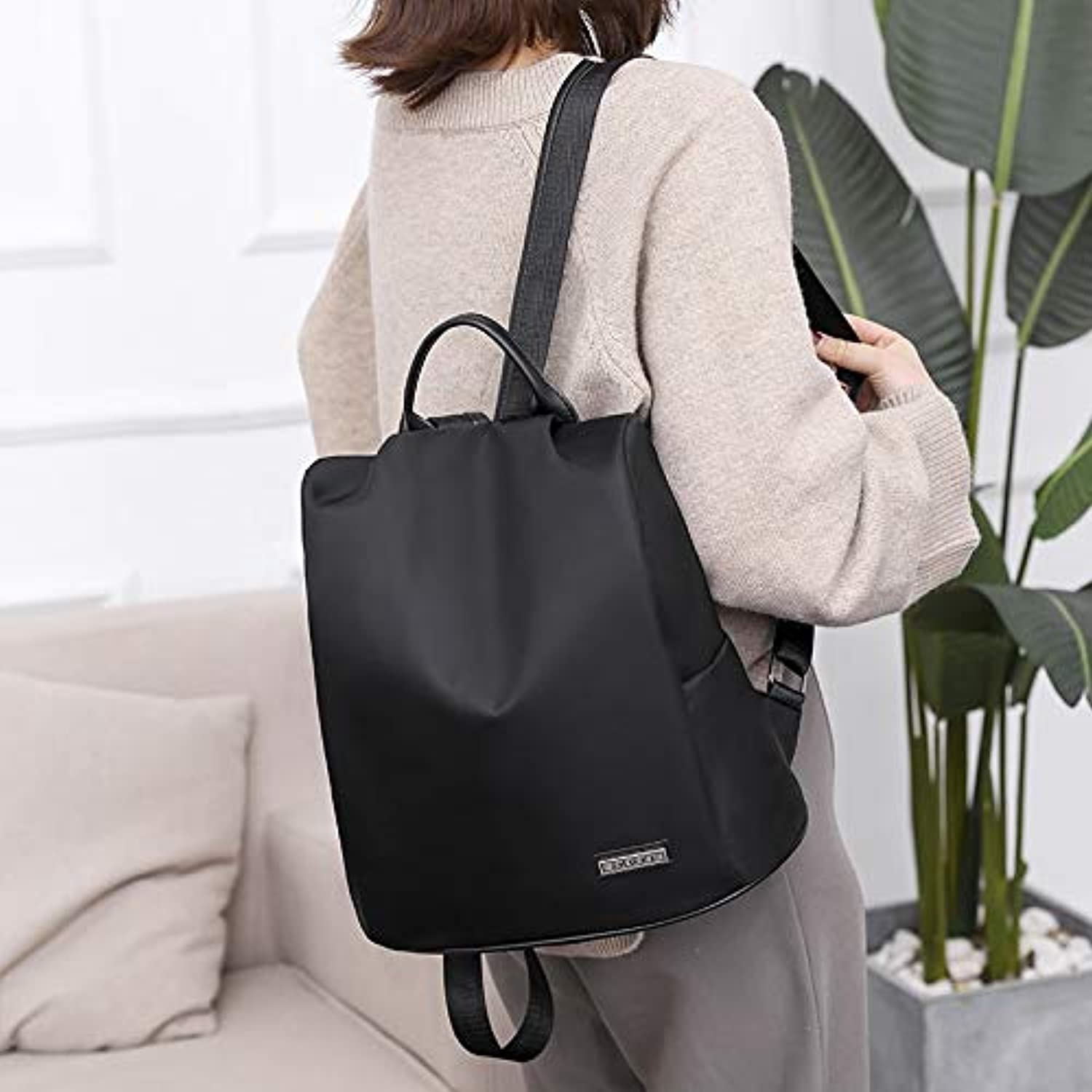 RYRYBH Antitheft Backpack Female Korean Version Of The Wild Waterproof Oxford Cloth College Wind Bag New Travel Small Backpack backpack (color   Black)