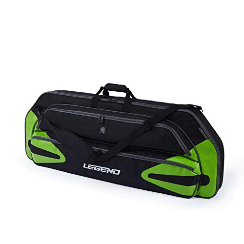 """Legend Monstro Compound Bow Soft Case with Protective Padding - 44"""" Interior Storage Space for Hunting Accessories, Arrow Tube Holder and Supplies (Black/Green)"""