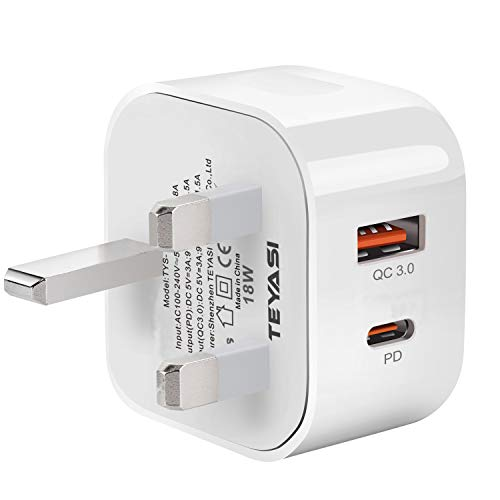 TEYASI Phone 12 USB C Plug Charger Fast Charge,18W Type C PD Wall Plug Charging for iPhone 12 11 Pro Max X XR XS 8 SE 2020 iPad Samsung S20 Huawei P40 P30,Dual Port Power Delivery 3.0 Adapter Plug UK