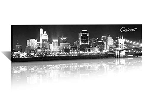 DJSYLIFE- Cincinnati Skyline Wall Art,Black and White Stretched Canvas Wall Art Prints for Bedroom or Office Decoration, Ready to Hang 13.8'x47.3'